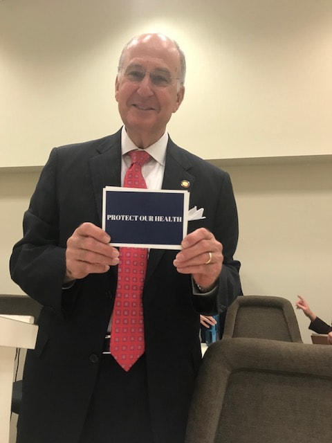 Delivering CWM Postcards to Rep. Ted Davis at the House Select Committee on River Water Quality, Raleigh, April 26, 2018