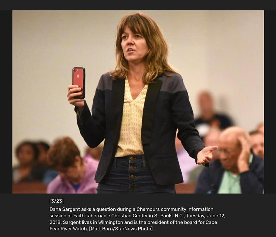 Dana Sargent questioning Plant Manager Brian Long at the Chemours Town Hall, St. Pauls, June 12, 2018