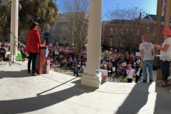 Dana Sargent speaking at the Wilmington Women's March, January 20, 2018